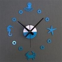 Mediterranean DIY Marine Animal Mute Wall Clock