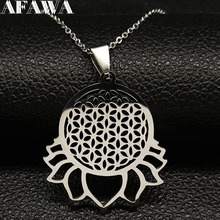 2019 Lotus Stainless Steel Necklace Women Silver Color Flower of Life Pendant Jewelry acero inoxidable joyeria K77509B