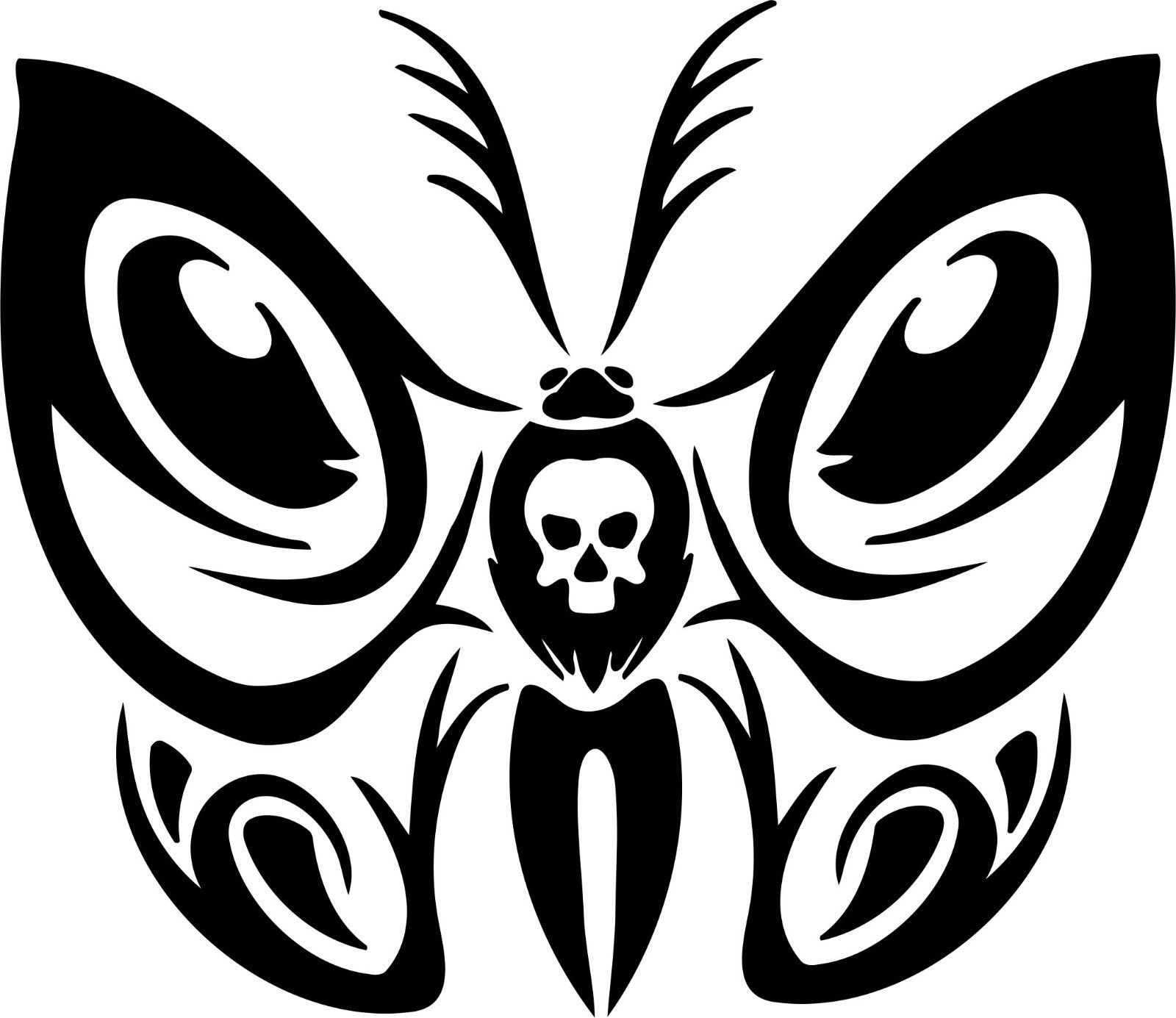 For butterfly tribal skull truck car window laptop vinyl decal sticker car styling