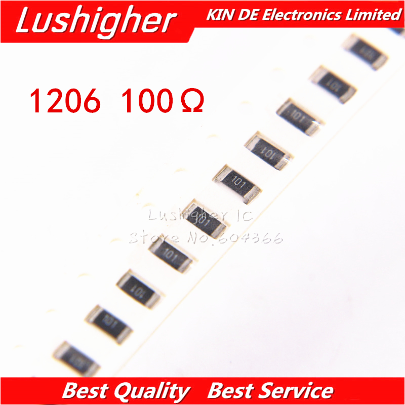 100PCS 1206 SMD Resistor 1% 100 Ohm 101 100ohm 100R Free Shipping