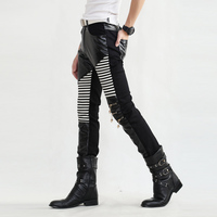 Non Mainstream Young Mens Casual Pants Mens Fashion Leggings Mens Leather Trousers Compression Tights Sexy Mens