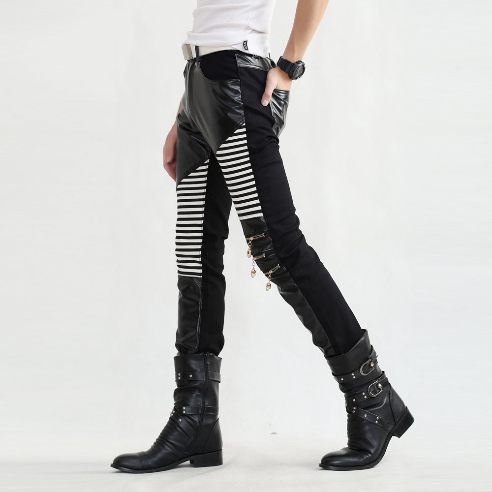 Non Mainstream Young Mens Casual Pants Mens Fashion Leggings Mens Leather Trousers Compression Tights Sexy Mens Pants Punk Pants