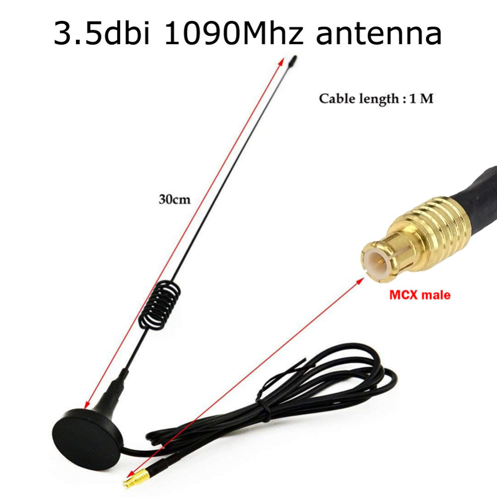 3.5DBi 1090Mhz ADS-B Antenna MCX Male Aerial Magnetic Base RG174 1M Signal Booster Aircraft Antenna FPV Software Radio DVB-T SDR