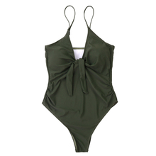2019 Best-selling new one-piece harness, swimwear, pure color sexy bow, European and American swimsuit.