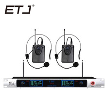 Free shipping ETJ U-204 Wireless Microphone with Screen 50M Distance 2 Channel Handheld Mic System Karaoke Wireless Microphone freeboss m 2280 50m distance 2 channel headset mic system karaoke party church uhf wireless microphones