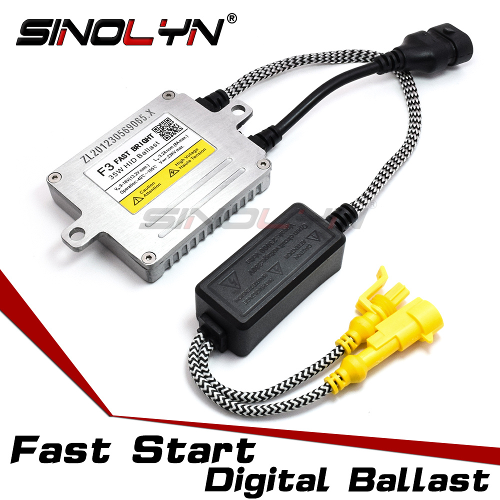 Sinolyn F3 Fast Bright Xenon Ignition Unit Block AC Ballast Quick Start Digital Reactor For HID Lamp Light Bulbs Accessories DIY