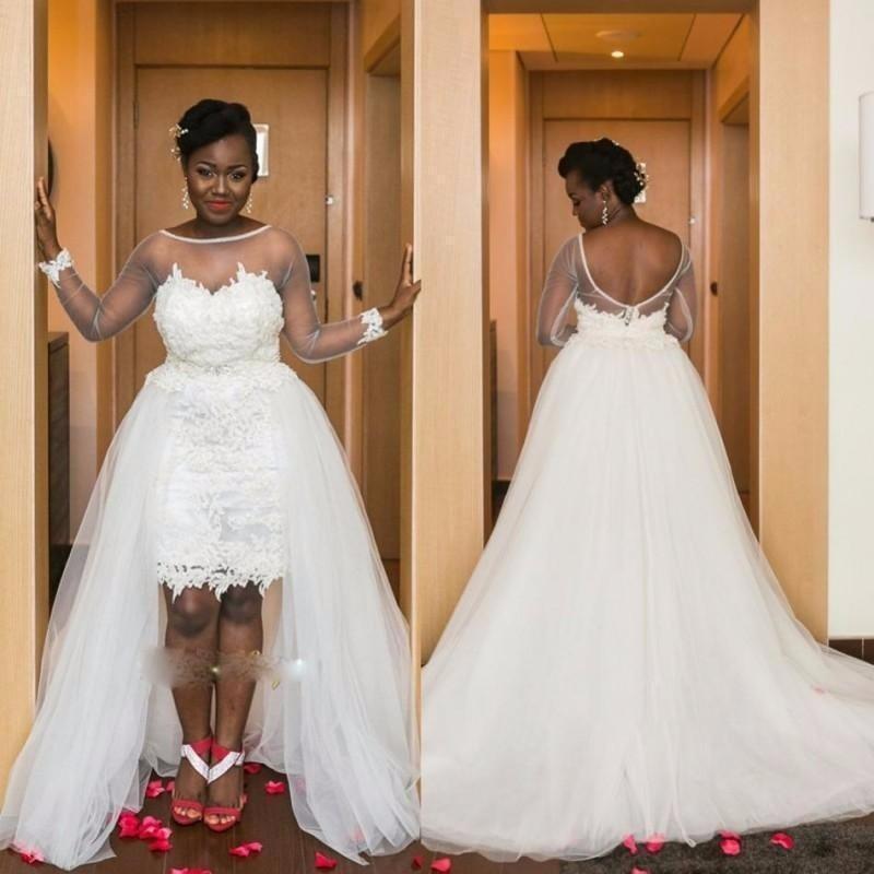 Remise nouveau Design arabe haut bas robes de mariée 2020 pure manches longues dos nu Appliques charmante dentelle robes de mariée Vestid