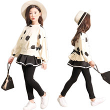 35466f119 Niñas Ropa de manga larga de punto Camisa + + Pantalones Falda 2 piezas  chica chico conjunto de ropa de Otoño de primavera Child.