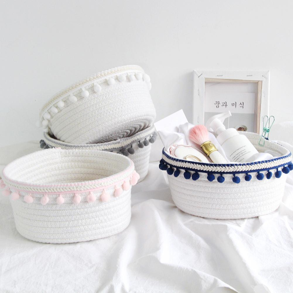 Nordic Hair Ball Cotton Rope Woven Storage Basket Simple Desktop Sundries Cotton Storage Box For Home