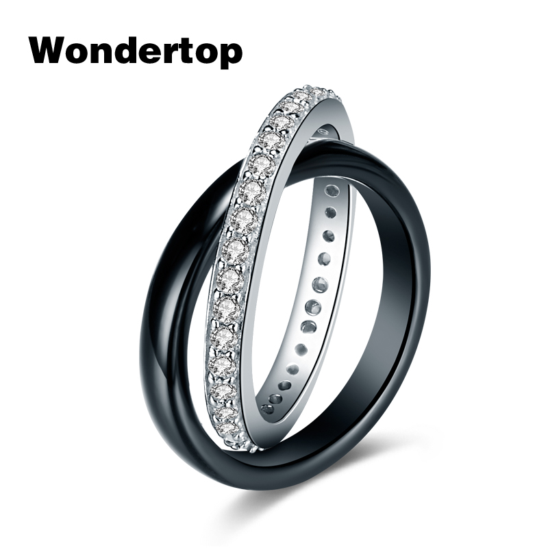 WONDERTOP Authentic Sterling 925 Silver Luxury Interlocking Circles Ring with Black Ceramic and Zircon Paved for Women Jewelry
