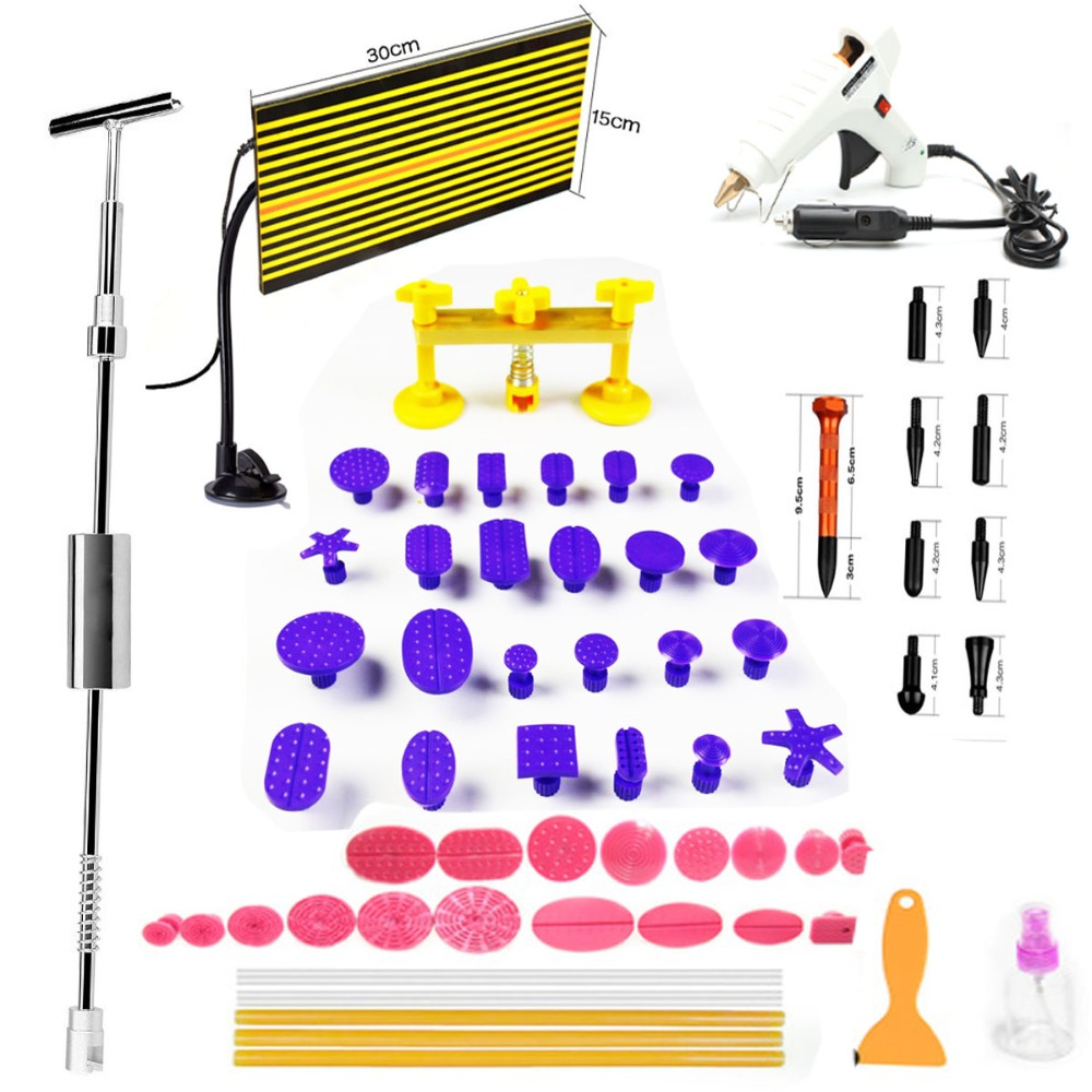 2 in One Slide Hammer Dent Puller Kit PDR Paintless Car Dent Removal Tools +42 PDR Tabs+LED PDR Lamp +Tap Down Pen paintless dent repair pdr tools aluminum tap down hammer pdr slide hammer pdr glue tabs wedge t bar puller car dent fix auto