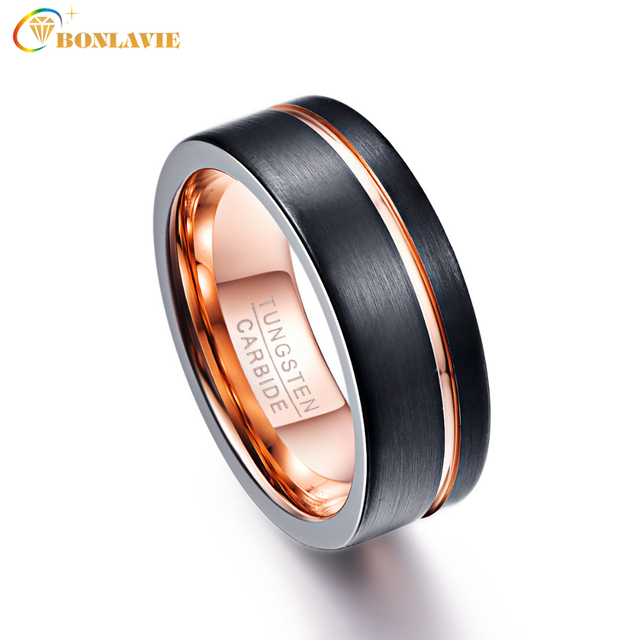 BONLAVIE Mens 8mm Black Matte Finish Tungsten Carbide Rings Rose