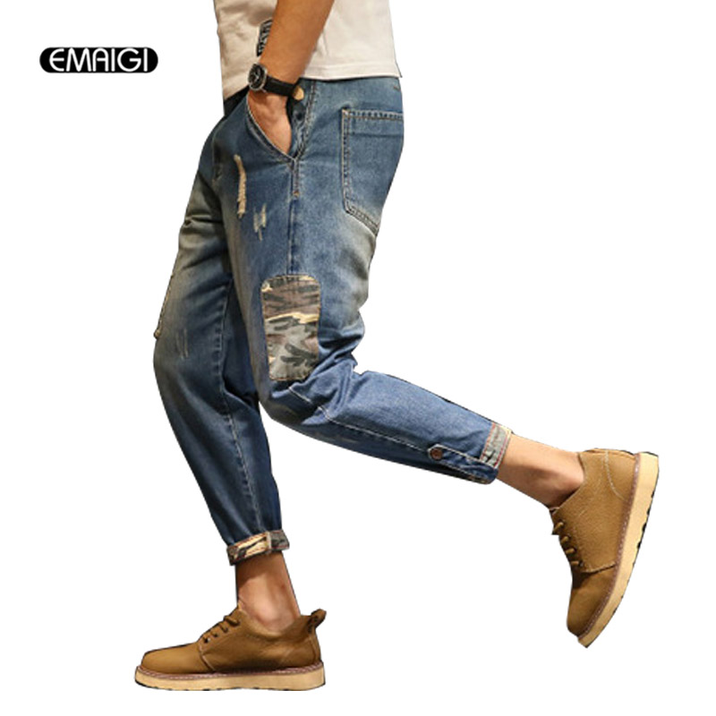 Big Size Jeans Street Fashion Hiphop Men Hole Ripped Jeans Male Loose Harem Pant Casual Denim Trousers large size 29 42 young men jeans hole patchwork denim harem pant male fashion casual denim pant trousers
