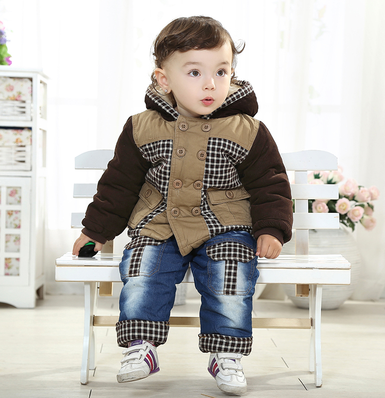 3a9ea272949 New Free Ship Winter Cotton Warm Plaid Coat Baby Boy Clothes Fleece Jacket  +Pants Toddler boy Kids Clothing 0 3 6 9 12 24 Month-in Clothing Sets from  Mother ...