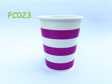 24pcs/lot Purple Horizontal Striped 9OZ Party Paper Beverage Cups Birthday Wedding Decors Party Table Supplies
