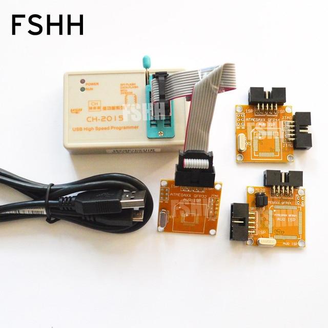 CH2015 Intelligente Hoge Snelheid USB Programmeur + TQFP32 TQFP44 TQFP64 AVR ISP interface met gelaste plaat Programmering AVR MCU