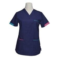 [Топ] женские модные топы с эффектом потертости, медицинская Униформа с короткими рукавами, Униформа, цвет-блокирующий дизайн, хлопок, v-образный вырез, одежда для медсестер