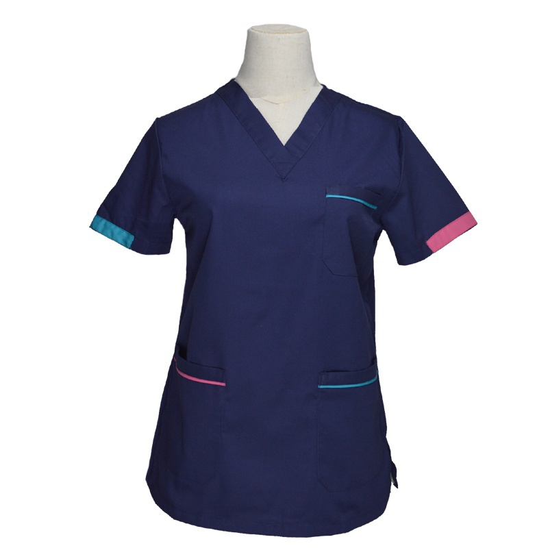 [TOP] Women's Fashion Scrub Tops Short Sleeve Medical Uniforms Color-blocking Design Cotton V Neck Nurse Clothing