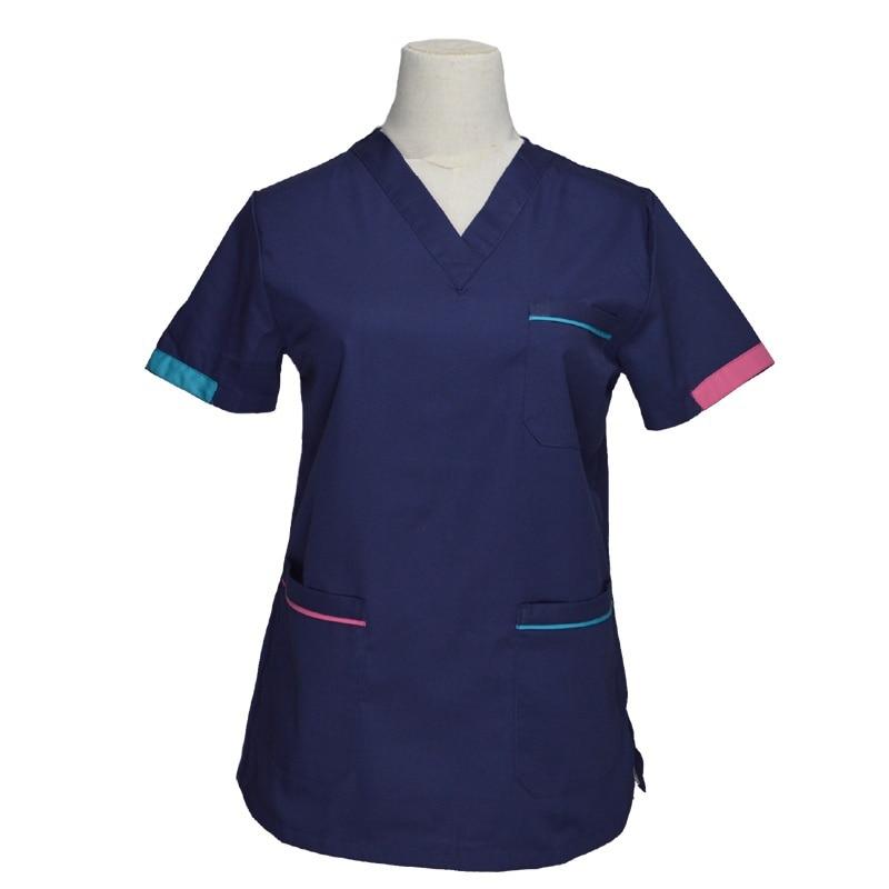[TOP] Women's Fashion Scrub Tops Short Sleeve Medical Uniforms Color-blocking Design Cotton V Neck Nurse Clothing