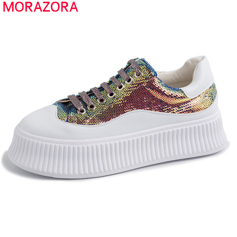 MORAZORA 2019 new arrival Thick bottom casual shoes woman lace up genuine leather shoes sequined fashion
