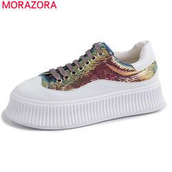 MORAZORA/2019 Новое поступление, повседневная обувь на толстой подошве, женская обувь на шнуровке из натуральной кожи, модная женская обувь на