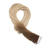 Moresoo Tape in Colored Hair Extensions Real Brazilian Human Hair Color Brown Fading to #16 and #24 Blonde Balayage Ombre Hair