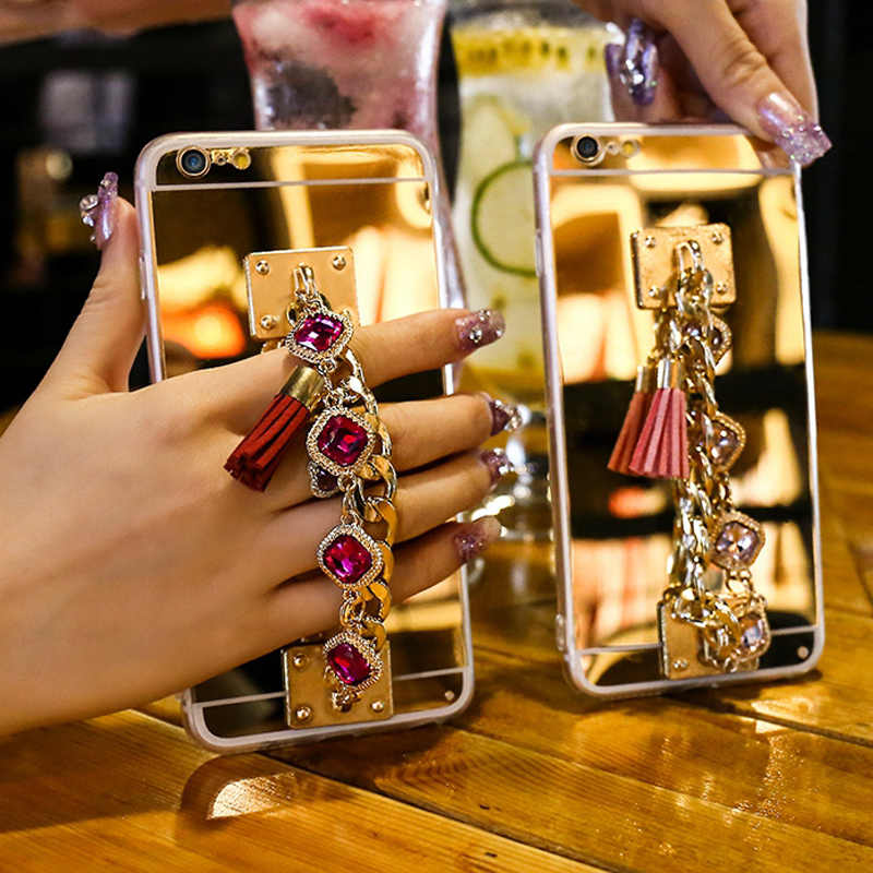 Bling Bracelet Crystal Tassel Women Case For iPhone XR XS MAX X 10 8 7 6 6S Plus 5 5S SE Phone Cases For iPhone X Mirror Cover