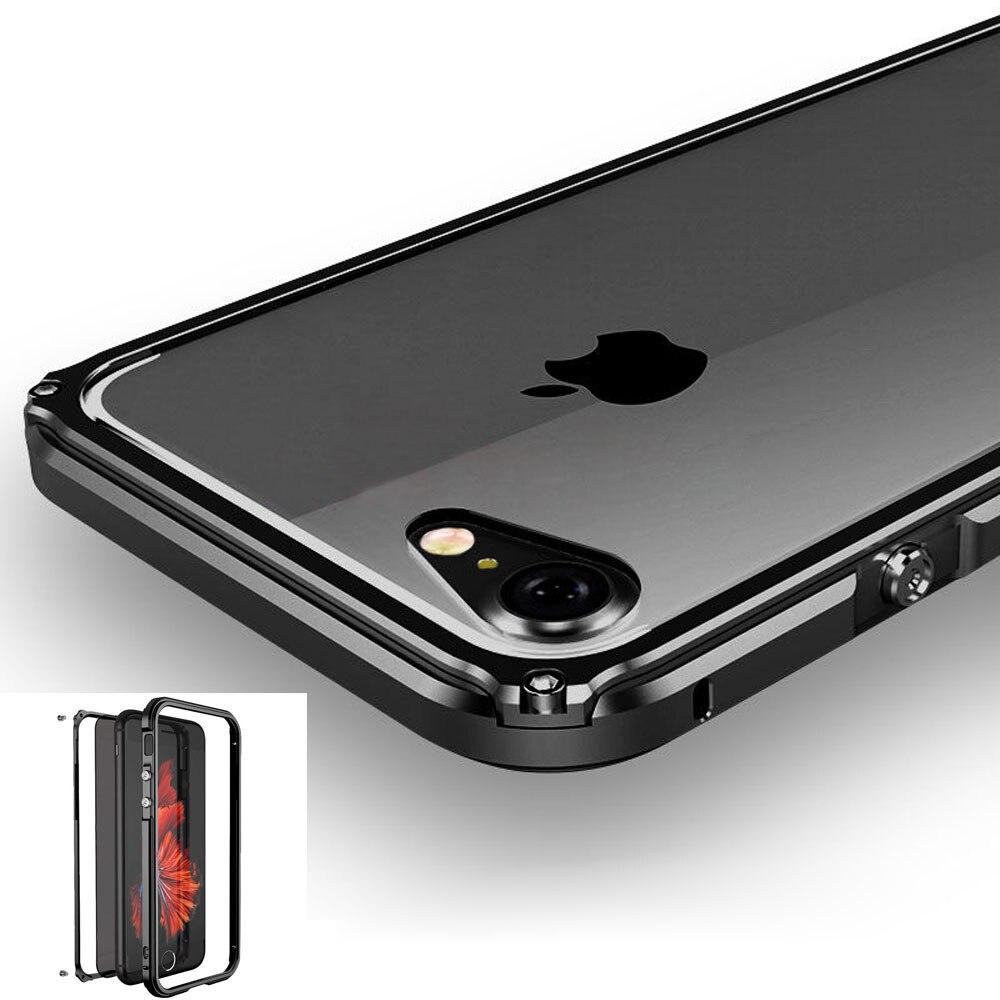 Цена за Для iPhone 7 Алюминиевый Металл Футляр Противоударный Чехол акриловые Полное Покрытие Для iPhone 7 Плюс 6 6 s Plus Cap