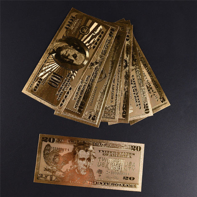 7pcs Gold Banknotes Banknotes in Gold Plated Paper Money For Collection 15*7 cm/5.91*2.76in 4