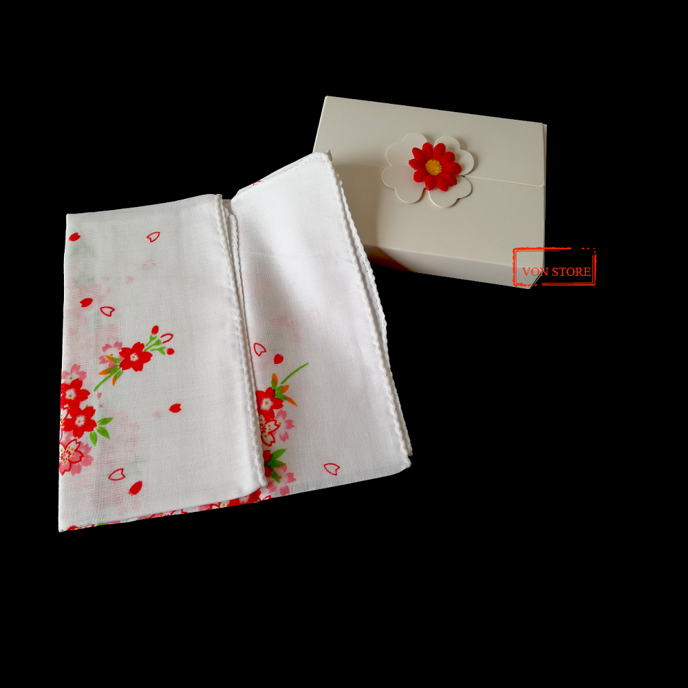 Women Men Sport Sweat 100% Cotton Japanese Red Sakura Flower White Long Handkerchief Towel With Gift Box