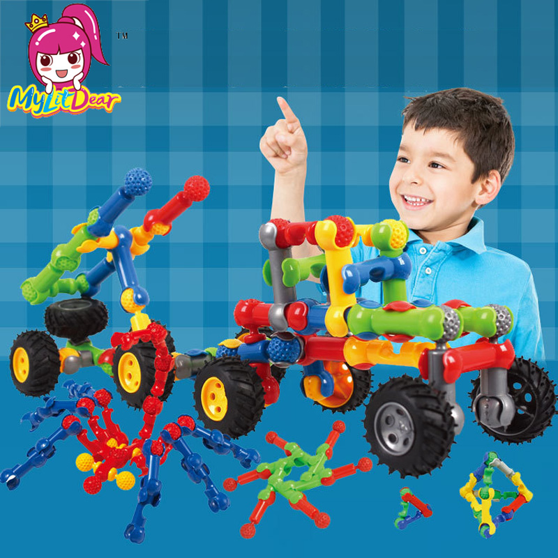 Baby Plastic Peanut Building Blocks Toys Educational Creative Bricks Toys For Children DIY Car Model Funny Construction Block huimei city rail car diy model big building blocks bricks baby early educational learning gift toys for kids children