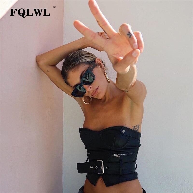 FQLWL Faux cuir moulante femmes Haut court ceintures dos nu hors épaule été débardeur Femme Sexy fête Haut Femme Bustier hauts
