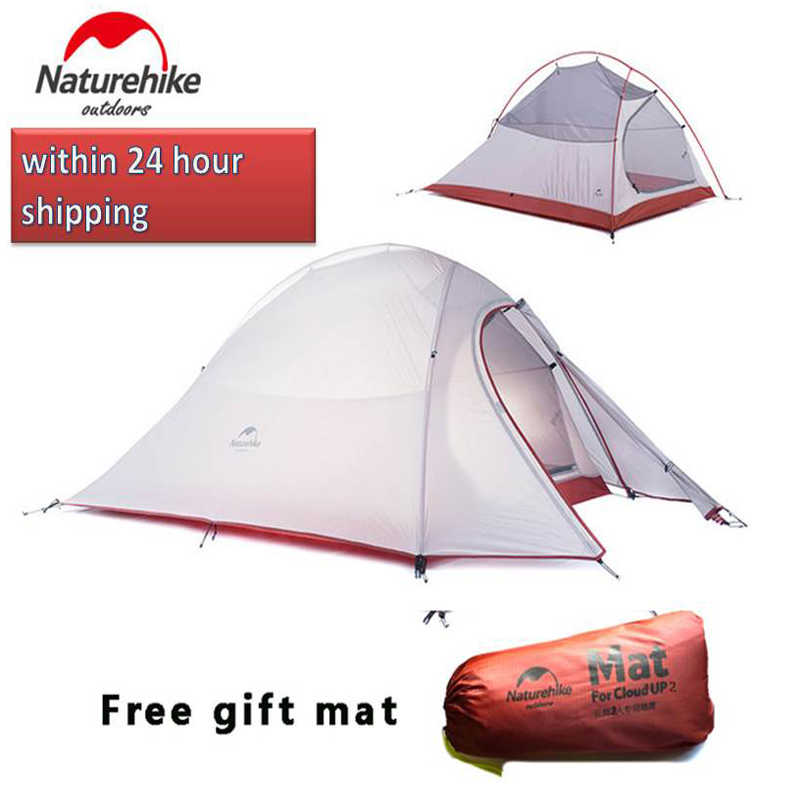 Naturehike tent Cloud Up Series 2-3 Person Ultralight Tent 20D Silicone Double-layer Camping Tent with Mat Camp Equipment naturehike 2 man 3 season ultralight camping tent wiht vestibule best camp equipment fast delivery