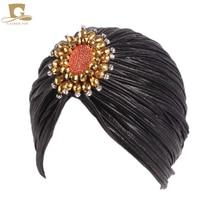 New lady Luxury Metallic Shinny Ruffle Turban hijab Head Wrap Women gold diamante Marriage Cap