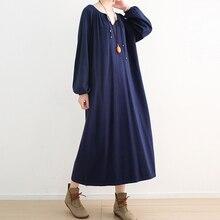 Весенне-осеннее Новое Стильное Свободное длинное платье большого размера, вязаные шерстяные платья с рукавами-пузырьками, однотонное мягкое трикотажное платье