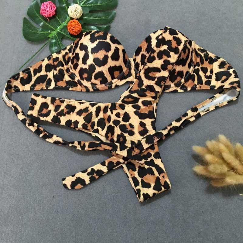 Сексуальный женский купальник-бикини 2019 леопардовый бикини костюм куртка купальник Бразильский женский летний пляжный костюм из двух предметов