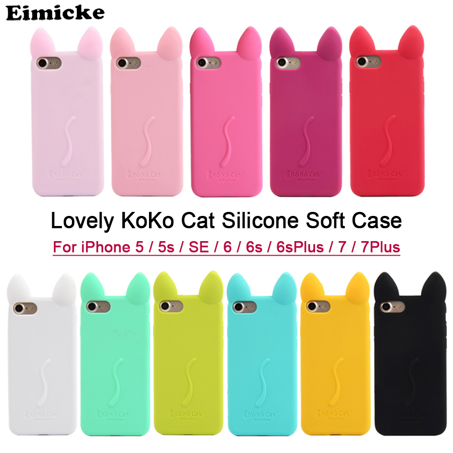 Lovely KoKo Cat Ear Girls Soft Silicone case for iPhone 5 5s SE 6 6s Plus 7 7Plus 8 8plus cover Candy cases Cute Rabbit Ear Case
