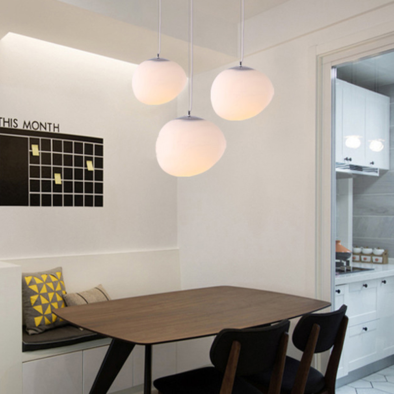 Nordic Globe Pendant Lights White Glass Ball Pendant Lamp ...