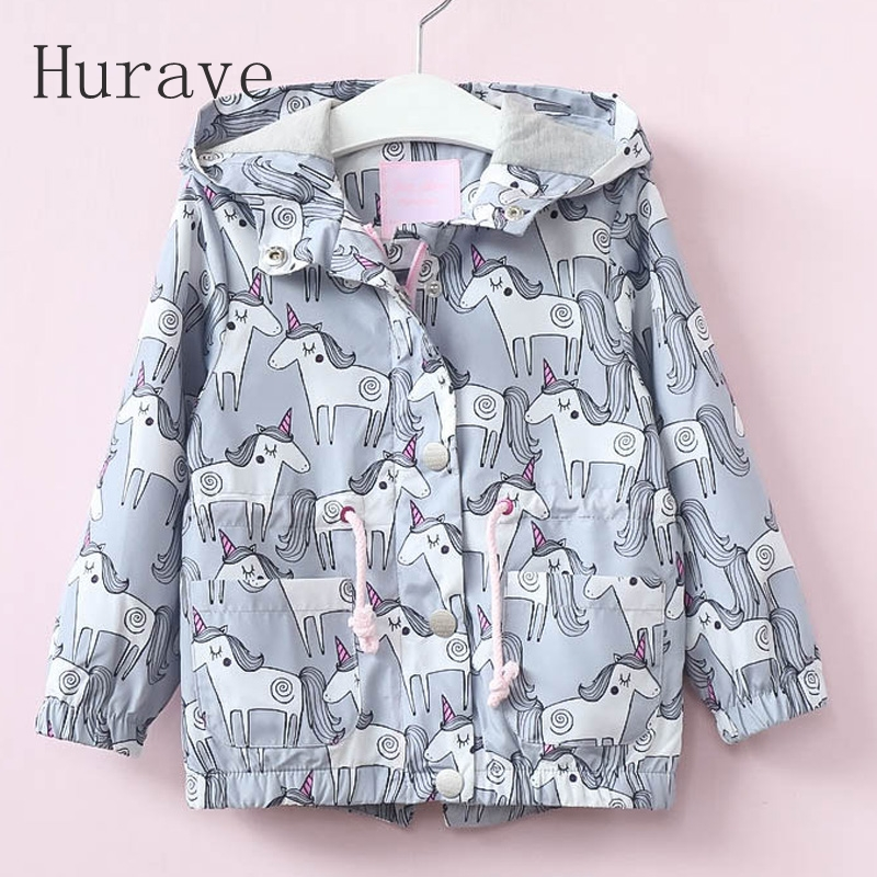 Hurave New Hot Girls Coat for children Trench horse printing coat kids Hooded clothes drawstring