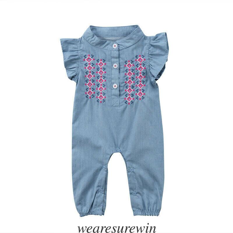 Infant Newborn Baby Girls Bodysuit Sunsuit Playsuit Jumpsuit Romper Clothes Newborn Infants Baby Girls Cotton