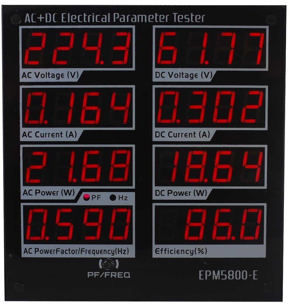 Medidor de Potência Medidor de Watt Fonte de Alimentação de Teste Elétrico Paremeters Tester Motorista Eficiência dc Epm5800-e ac – cc