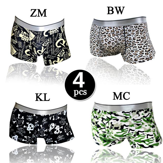4 pçs/lote Brand New Plus Size Underwear Homens Boxers de Seda Gelo Seamless Sexy Ondergoed Cuecas Boxer Shorts Dos Homens Cueca Cuecas