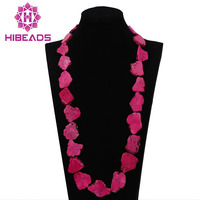 Fuchsia Pink African Fashion Jewelry 34inches Indian Necklace Slice Beaded Women Gift Necklace Free Shipping ABL572