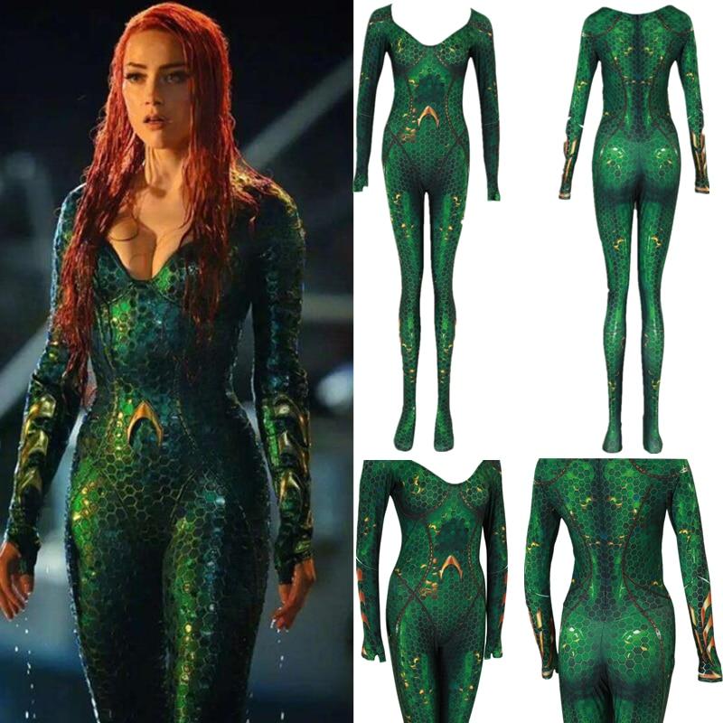 Aquaman Mera Wig Cosplay Costume Zentai Suit 3D Print Halloween Zentai New