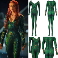 New Women Kids Movie Aquaman Mera Queen Cosplay Costume Zentai Bodysuit Suit Jumpsuits
