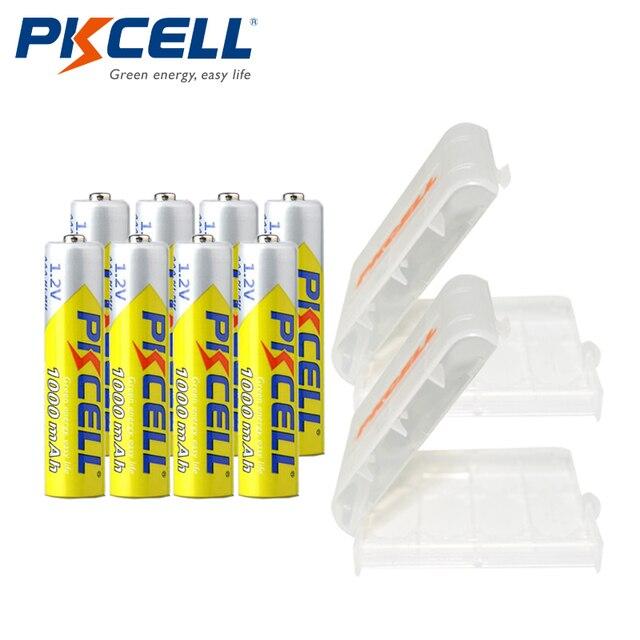 8 шт. * pkcell ааа батареи ni-mh 1.2 В 1000 мАч aaa аккумуляторная батарея 3a bateria baterias с 2 удержание батареи дело box