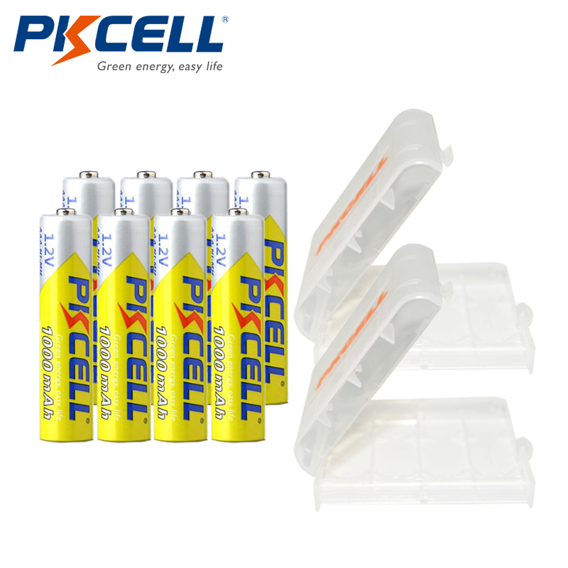 8Pcs*PKCELL <font><b>AAA</b></font> Battery Ni-MH 1.2V <font><b>1000MAH</b></font> <font><b>AAA</b></font> <font><b>Rechargeable</b></font> Battery Batteries 3A Bateria Baterias with 2 Battery Hold Case Box image