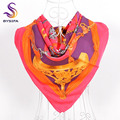 [BYSIFA] Red Brand Twill Square Scarves 2017 Ladies Accessories Heavy Silk Large Silk Scarf Cape 16M/M 90*90cm Handmade Scarves