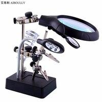 18X lupa herramientas de diagnóstico + joya herramientas instrumento + con luces LED lupa de La Lupa de escritorio de mantenimiento