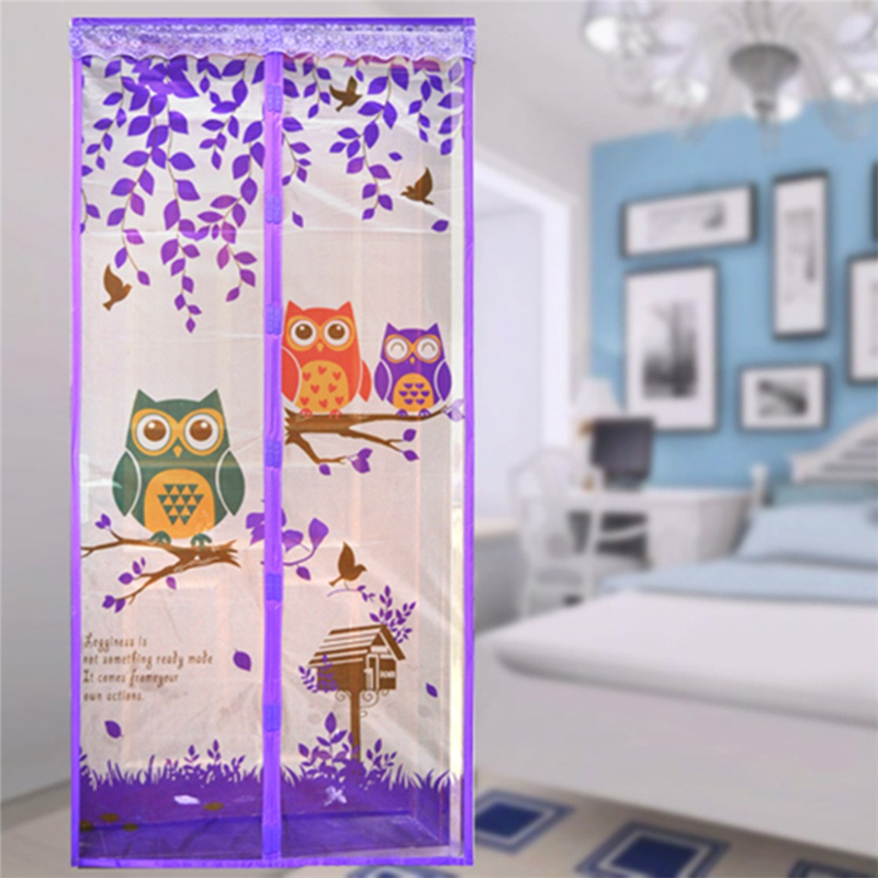 Lovely Cartoon Owl Pattern Magnetic Mesh Door Net Cute Anti Mosquito Automatic Closing